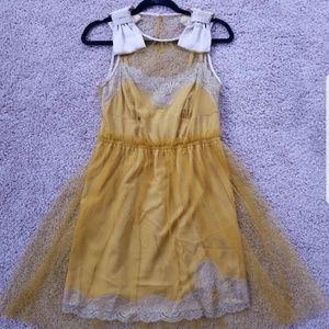 NEW Rodarte Yellow Slip Dress, Mesh Overlay